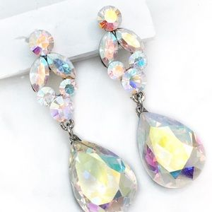 Swarovski AB Crystal Drop Occasion Earrings